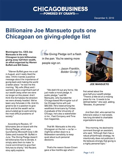 Billionaire Joe Mansueto puts one Chicagoan on giving-pledge list
