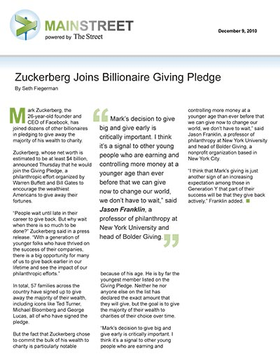 Zuckerberg Joins Billionaire Giving Pledge