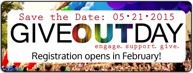 GiveOutDay - Save the date: 5/21/2015. Registration opens in February